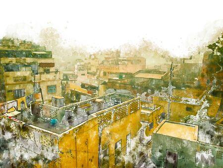 Digital painting of golden city, illustration of historic building. Jaisalmer City in Rajasthan, India.