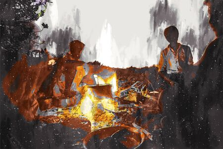 Digital painting of camping in desert Stock Photo