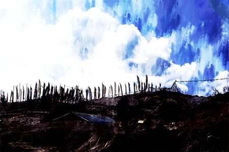 Digital painting of flags on hill against blue sky