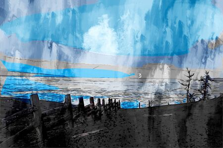 Digital painting of island in Lake Bikal, Russia, landscape photography