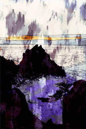 Digital painting of rock island in Lake Bikal, Russia, landscape photography 写真素材