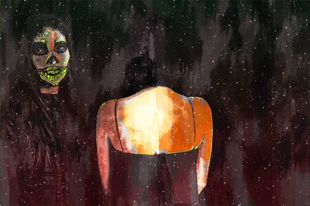 Digital painting of male and female zombie, man and woman with blood illustration, halloween picture conception Stock Photo