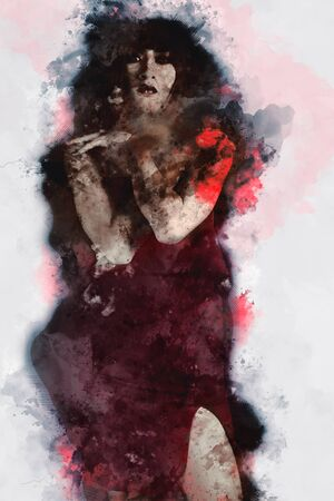 Digital painting of female zombie, woman with blood illustration, halloween picture conception