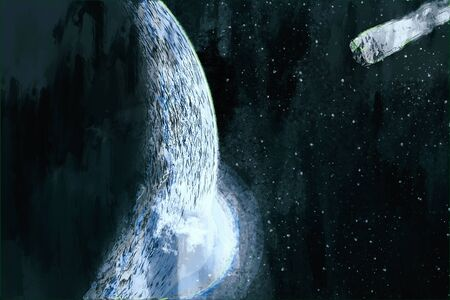 Digital painting of comet hits the planet, fantasy image illustration Foto de archivo