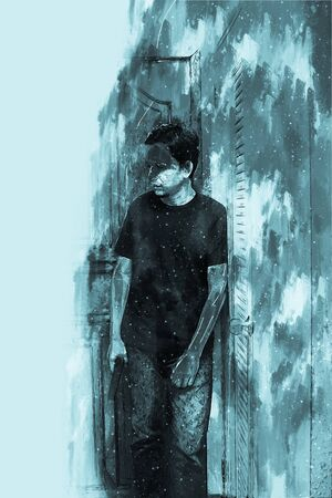 Digital painting of stress man with gun, monotone image 版權商用圖片