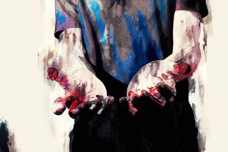 Meurtrier psychotique et mains sanglantes Banque d'images