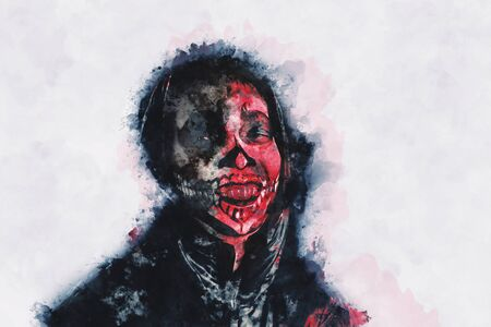 Digital painting of male zombie, man with blood illustration, halloween picture conception