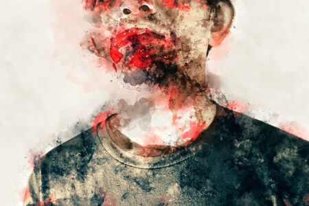 Weird digital painting of male zombie, man with blood illustration, halloween picture conception Stock Photo