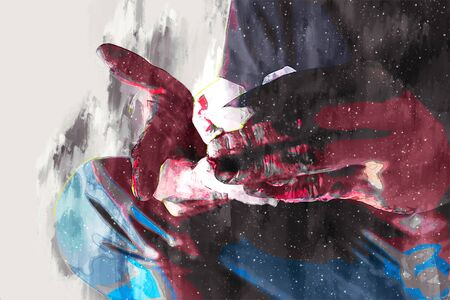 Weird digital painting of male zombie, man with blood illustration, halloween picture conception Archivio Fotografico
