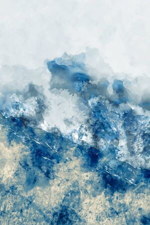 Digital abstract painting in cool tone for background, cool color background