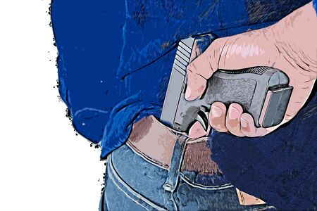 Digital painting of man is hiding a gun behind his back