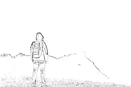 Digital drawing of man standing on cliff, black and white image