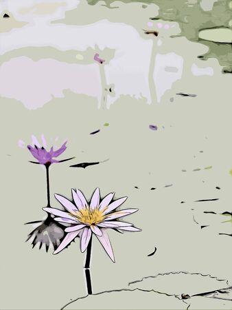Digital painting of lotus, oil painting illustration