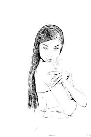 Digital drawing of long hair woman in black and white color Reklamní fotografie