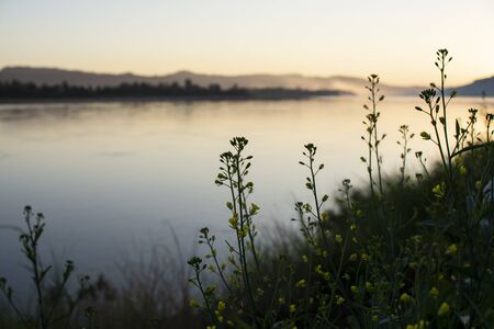 River landscape photo in the morning with mountain background