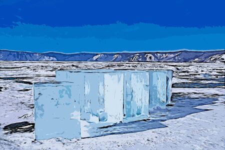Digital painting of ice cubes in frozen lake at Lake Baikal, Russia