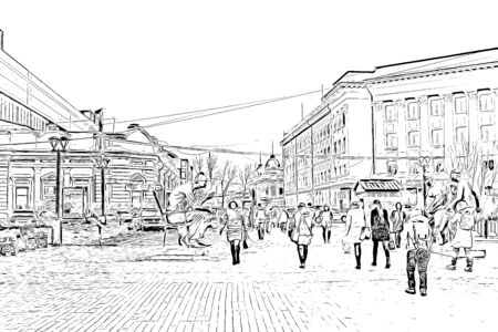 Digital drawing of buildings, black and white drawing image of city Reklamní fotografie