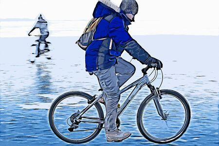 Digital painting of men riding bicycle, oil painting illustration
