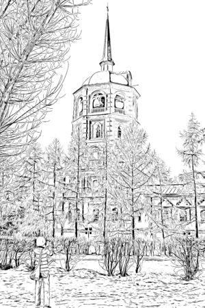 Digital drawing of church, church illustration image