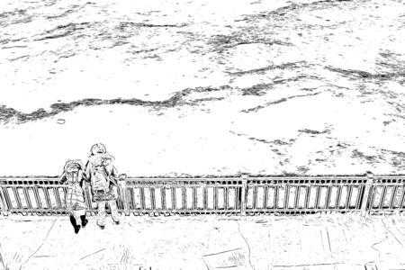 Couple on bridge looking at view, digital painting illustration