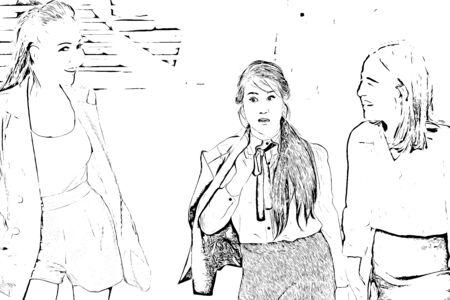 Illustration of talking people, business people talking outside building