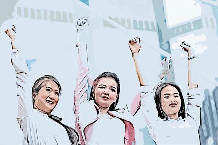 illustration of business women doing self-motivation against building background