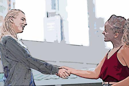 Illustration of talking women, business women talking outside building Reklamní fotografie