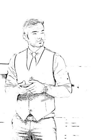 Man using mobile phone, digital drawing illustration