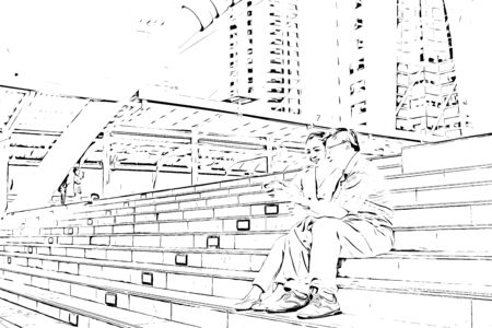 Elder traveling the world, Married couple with luggage standing and looking at buildings, digital illustration