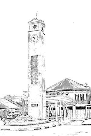Digital painting of clock tower, illustration image