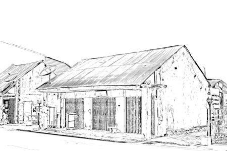 Digital drawing of houses in village, illustration for background Reklamní fotografie