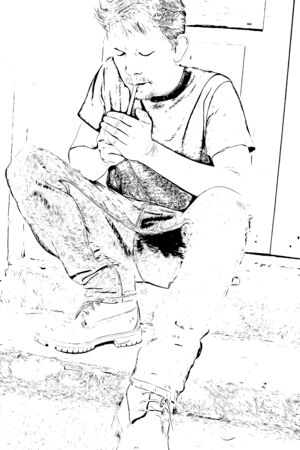 Digital drawing of people smoking cigarette, illustration image