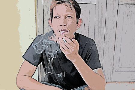 Digital painting of people smoking cigarette