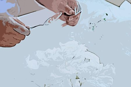 Digital painting of man eating tissue paper