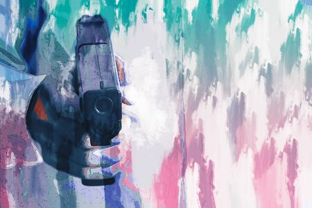 Digital painting of man with gun in his hand