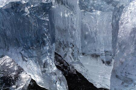 Ice cubes in frozen lake at Lake Baikal, Russia