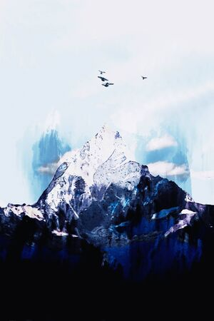 Digital painting of mountain peak and birds on blue sky background Фото со стока