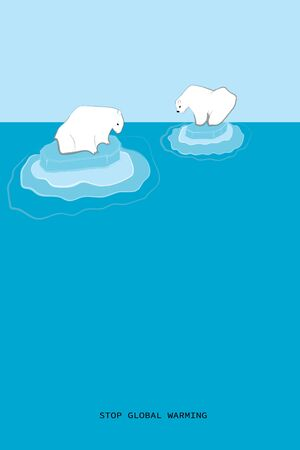 Separated couple of polar bears, melting icebergs, global warming concept