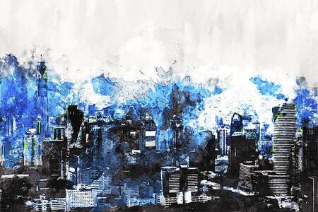 Digital painting of skyscraper in blue tone with blue sky Stok Fotoğraf