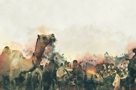Abstract digital painting of camels in desert, camel trade fair in India illustration