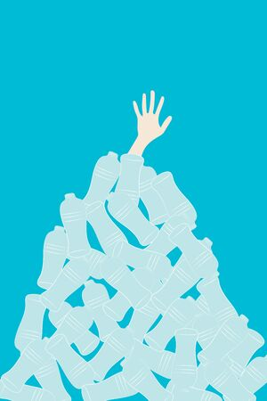 Raise ones hand from pile of bottles, vector illustration, plastic pollution concept Çizim