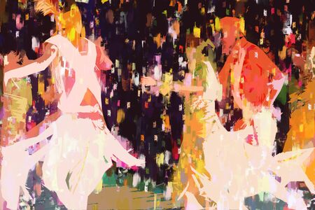 Abstract painting of Indian dancers, Illustration of dancers with traditional cloth
