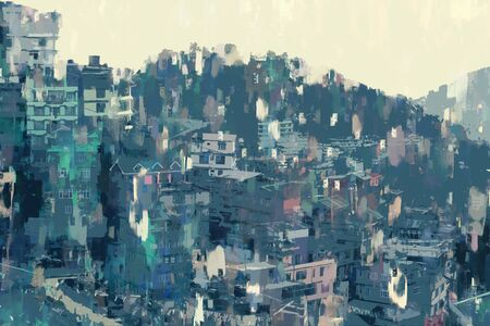 Abstract painting of city on hill, digital illustration, acrylic texture on image