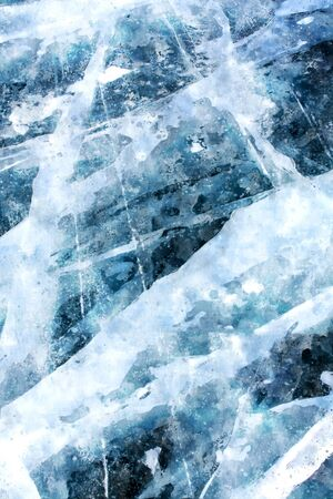 Digital painting of ice texture on surface of frozen lake