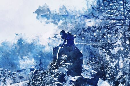 Digital watercolor painting of man sitting on cliff in blue shades