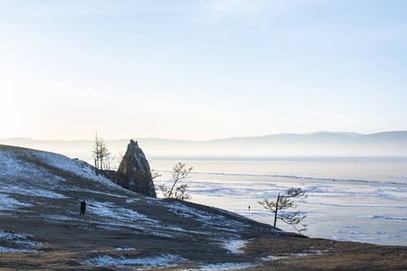Rock island in Lake Baikal, Russia, landscape photography