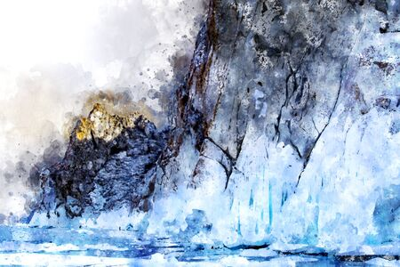 Digital painting of rock island with ice in winter Stock fotó