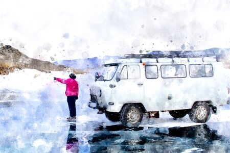Person standing on ice lake with car, digital painting illustration