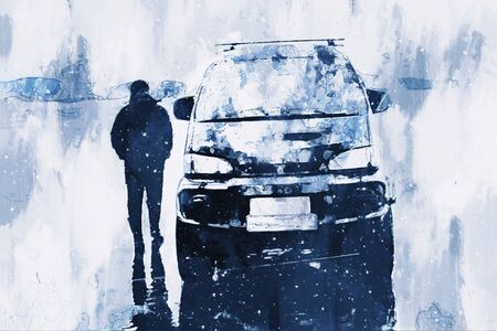 Man standing on ice lake with car, digital painting illustration Stock fotó