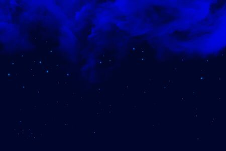 Night sky with clouds and stars in blue tone, digital illustration